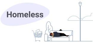 Mendigo borracho al aire libre durmiente del pobre hombre que miente en integral horizontal del concepto del banco de madera del  ilustración del vector