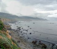 Mendocino Coast Fog Panorama stock photo