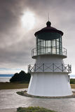 Mendocino Light. Sunlight and stormy skies behind the Mendocino lighthouse royalty free stock images