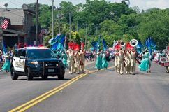 Marching Band Performs in Mendota Stock Photo