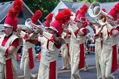 Marching Band Fills Streets in Mendota Stock Photography