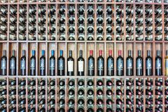 Mendoza, Argentina / March 26, 2015 - Bottles of red wine are st. Ored for display and for aging stock images