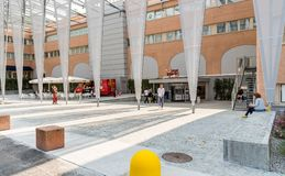 Entrance of the FoxTown, the biggest Factory Outlet Stores center in Southern Europe, is located in Mendrisio of canton Ticino. Mendrisio, Ticino, Switzerland Stock Photo