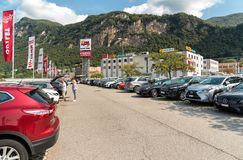 Exterior Parking area of the FoxTown, the biggest Factory Outlet Stores center in Southern Europe, is located in Mendrisio of cant. Mendrisio, Ticino Royalty Free Stock Photo