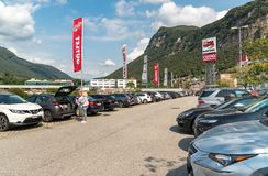 Exterior Parking area of the FoxTown, the biggest Factory Outlet Stores center in Southern Europe, is located in Mendrisio of cant. Mendrisio, Ticino Royalty Free Stock Images