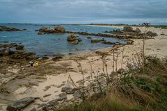 Meneham coast and beach in Brittany region in France stock photo