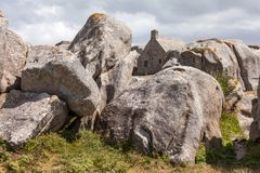 Meneham house - famous landmark in Brittany / France. Meneham in french Brittany house surrounded by the rocks Stock Photography