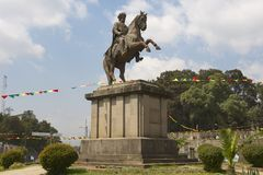 Menelik II equestrian statue n Addis Ababa, Ethiopia. Stock Photos