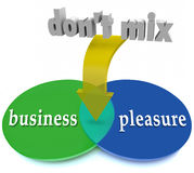 Meng geen Bedrijfsgenoegen Venn Diagram Warning Office Workplac Royalty-vrije Stock Foto