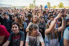 Menge von den zujubelnden Leuten, die ein Livekonzert genießen Stockfoto
