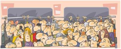 Menge von Leuten in den öffentlichen Transportmitteln. Stockfotos