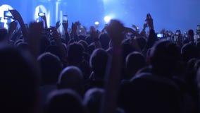 Menge von Tanzenmusikfans am Konzert stock video