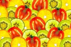 Mengeling gesneden fruit Stock Foto's