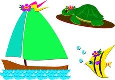 Mengeling van Boot, Schildpad, en Vissen royalty-vrije illustratie