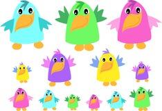 Mengeling van Grappige Vogels Stock Afbeelding