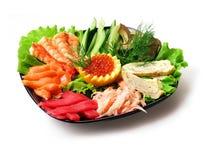 Mengeling van groenten en overzees voedsel Stock Fotografie