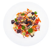 Mengeling van groenten met paddestoelen mun, spruiten van sojabonen in pla stock afbeeldingen