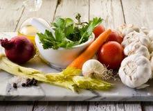Mengeling van groenteningrediënten royalty-vrije stock foto