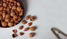 Mengeling van noten in houten plaat op witte achtergrond Royalty-vrije Stock Afbeeldingen