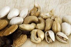 Mengeling van rozijnen, amandelnoot, cachou en pistache Stock Foto
