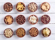 Mengeling van snacks stock foto