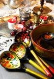 Mengeling van traditionele Russische Herinneringen Stock Fotografie