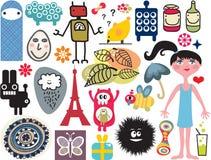 Mengeling van verschillende beelden en pictogrammen. vol.14 Stock Foto
