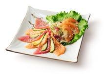 Mengeling van visvlees, komkommer, kool, tomaat? Stock Foto's