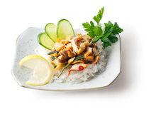 Mengeling van visvlees, ui, komkommer, boon? Stock Afbeeldingen