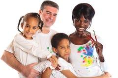 Mengen-rasfamilie het Schilderen Royalty-vrije Stock Foto's