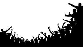 Mengenleute, Fanzujubeln Illustrationsfußballhintergrund, Vektorschattenbild Massenpöbel am Stadion Stockbild
