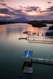 Mengkabong-Fluss und Mt Kinabalu Lizenzfreie Stockfotografie