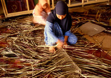 Mengkuang weaving Stock Photo