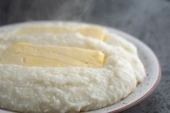 Mengrelian corn mamalica ghomi with cheese. Georgian food stock images