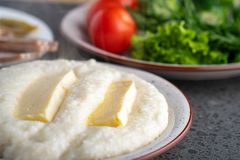 Mengrelian corn mamalica ghomi with cheese. Georgian food royalty free stock photography