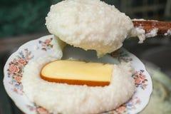 Mengrelian mamalica kukurydzany ghomi z serem Gruziński traditio Fotografia Royalty Free