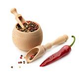 Mengsel droge peper en Spaanse peper Stock Foto's