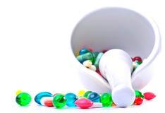 Mengsel van pillen stock afbeeldingen