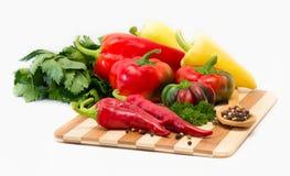 Mengsel van Spaanse pepers en paprika Stock Foto