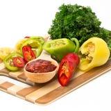 Mengsel van Spaanse pepers en paprika Stock Afbeeldingen