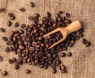 Mengsel van verschillende soorten koffiebonen met gietlepel Koffiebedelaars Stock Afbeeldingen