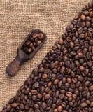 Mengsel van verschillende soorten koffiebonen met gietlepel Koffiebedelaars Stock Fotografie