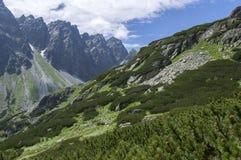 Mengusovska dolina, important hiking trail to hight mount Rysy, High Tatra mountains, Slovakia, amazing view with green hills. And blue sky stock photos