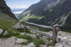 Mengusovska dolina, important hiking trail to hight mount Rysy, High Tatra mountains, Slovakia, amazing view with green hills royalty free stock images