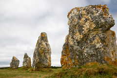 Menhir alignment in Brittany, France. Menhir alignment in Lagatjar, Brittany, France Royalty Free Stock Photo