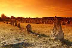 Menhir alignment in carnac in brittany. French landscape, menhir alignment in carnac Royalty Free Stock Photography