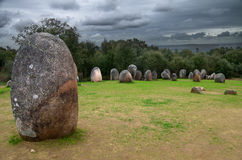 Menhir and Almendres Cromlech Royalty Free Stock Photos