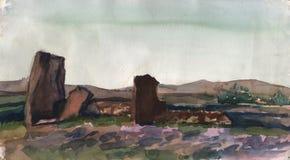 Menhir en pierre dans Khakassia Sibérie Peinture d'aquarelle de qualité Croquis d'aquarelle fait à partir de la nature illustration de vecteur
