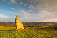 Menhir on the hill at sunset in Morinka village Royalty Free Stock Image