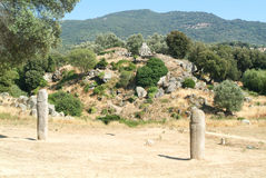 Menhir statue at the archaeological site of Filitosa on Corsica Royalty Free Stock Image